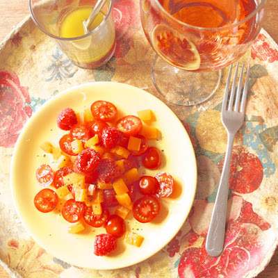 Tomato, Pepper & Raspberry Salad with Rosé Wine Dressing