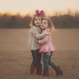 New Best Friends  by Stephanie Stafford - Babies & Children Children Candids ( countryside, friends, best friends, sunset, cowgirl, kids, fields )