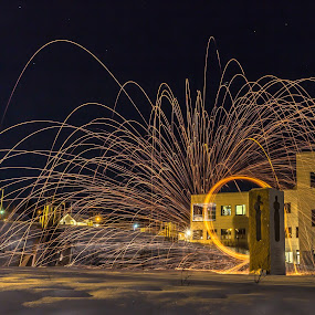 Steel wool on fire by Benny Høynes - City,  Street & Park  Night ( winter, park, snow, steelwool, night, longexposure, fire )