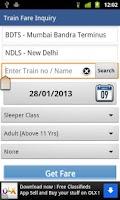 Screenshot of Indian Rail Enquiry