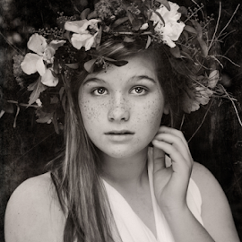 Freckles by Tammy Swarek - Babies & Children Child Portraits ( b&w, teen, freckles, portrait, tammy swarek,  )