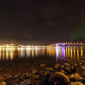 Sortland Bridge by Benny Høynes - Buildings & Architecture Bridges & Suspended Structures ( northernlight, aurora, bridge, sortland, nightscapes, norway )