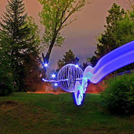 Almost an accident by Jamie Rabold - Abstract Light Painting ( canon camera, lights, light painting, light ribbon, leds, j rabold, el wire, orbs, park point, night shot, light art )