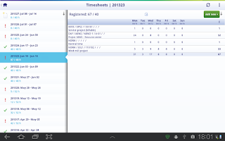 Screenshot of UNIT4 Agresso Timesheets