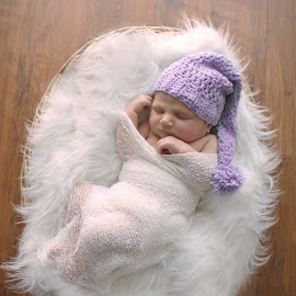 Sweet Slumber by Kitty Schaub - Babies & Children Babies ( girl, purple, infant, basket, sleeping, baby, sleep, newborn )