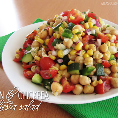 Corn & Chickpea Fiesta Salad with Cilantro Lime Vinaigrette