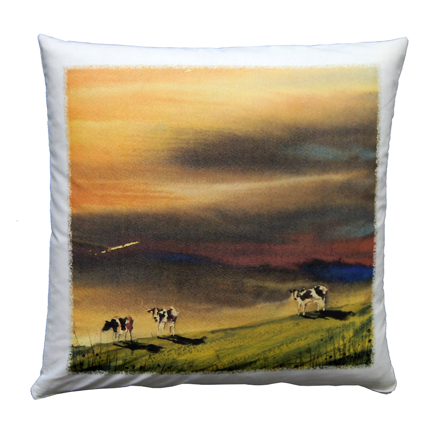 Britihs wildlife painting cushion cows shabby chic rustic