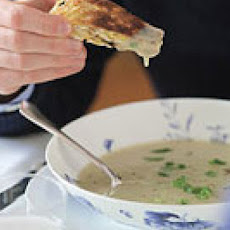 Potato Scallion Soup with Fried Matzo Dippers