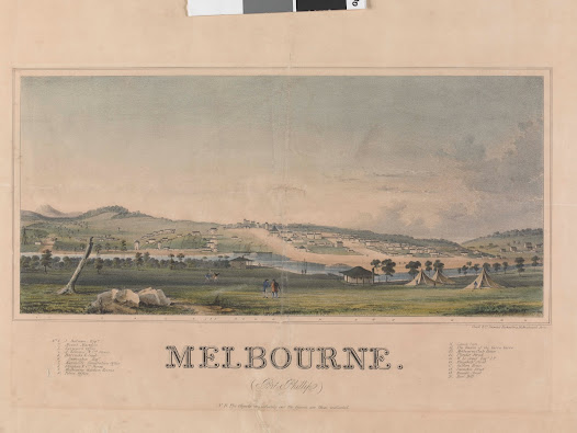 Melbourne in 1841 from the south side of the Yarra River.