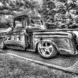 HDR chevrolet 3100 by Peter Wyatt - Transportation Automobiles ( abstract, car, motor vehicle, hdr, black and white, chevrolet, art, custom car )
