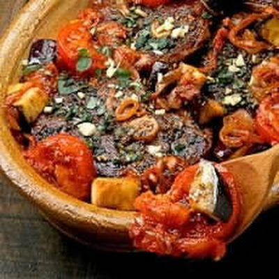 Greek Lamb on the Bone with Aubergines and Rice Pilau