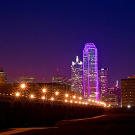City of Dallas goes Pink by Roberto Ramirez - City,  Street & Park  Skylines ( the mood factory, mood, lighting, sassy, pink, colored, colorful, scenic, artificial, lights, scents, senses, hot pink, confident, fun, mood factory  )