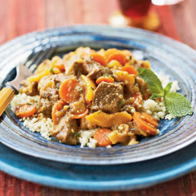 Lamb with Dates, Apricots, and Saffron over Couscous