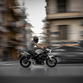 High speed in the city by Leidolv Magelssen - Transportation Motorcycles ( panning, motorbike, speed, action, motorcycle )