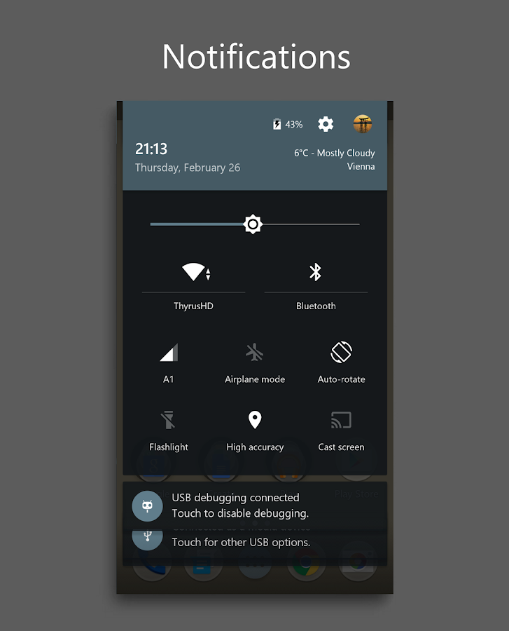DarkMTRL Thyrus CM12/13 Theme Screenshot 5