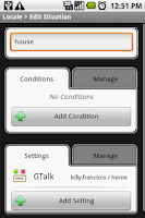 Screenshot of Locale GTalk Plug-in