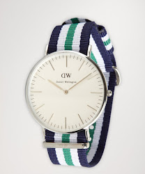 Daniel Wellington navy and green striped grosgrain strap 'Nottingham' watch