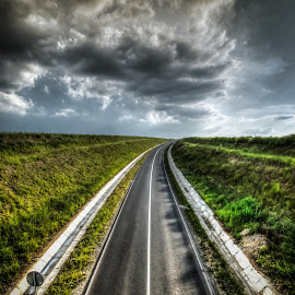 road to nowhere... by Lupu Radu - Landscapes Travel ( sunset, road, storm )