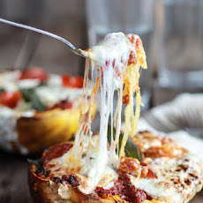 Cheesy Baked Spaghetti Squash Boats with Grilled Chicken Recipe ...