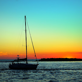 Heading for the Harbor by Steve Parsons - Transportation Boats ( sailing, florida, silhouette, sunset, sailboat, destin )