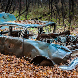 Forgotten Car in the Park by Ken Brown - Transportation Automobiles ( car, old, chrome, wheels, dents, left behind, leaves, woods, discarded, dented, broken, autumn, forsaken, fall, trees, derelict, long exposure, stuck, rust, evening, abandoned )