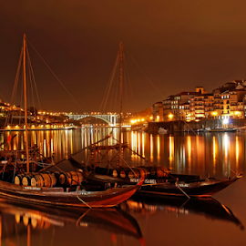 Porto by night by Antonio Amen - City,  Street & Park  Night ( lights, rabelo, nocturn, boats, river douro, oporto, night, porto, city,  )