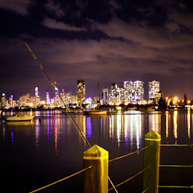 Gone Fishing by Linda Taylor - City,  Street & Park  Skylines ( skyline, waterscape, street, night, fishing, jetty, landscape, city )