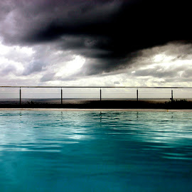 stormy afternoon by the pool by Magdalena Wysoczanska - Nature Up Close Water ( sky, pool, afternoon, dark, reflections, moody )
