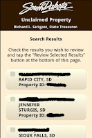 Screenshot of SD Unclaimed Property Search