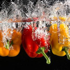 Triple Dip by Troy Wheatley - Food & Drink Fruits & Vegetables ( water, orange, red, splash, pepper, bell pepper, yellow )