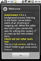 Screenshot of AutoContact contact adder Full
