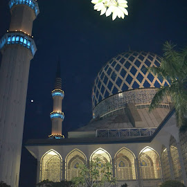 The mosque and white flowers by Jamila Ahmad - Buildings & Architecture Places of Worship