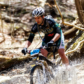 rollin thunda by Edward Kreis - Transportation Bicycles ( trail ride, river cross, rush, splash, mountain bike, cascade trail, race, soft tail, patapsco state park, adrenaline, elkridge, dirty, action, maryland, wet, Bicycle, Sport, Transportation, Cycle, Bike, ResourceMagazine, Outdoors, Exercise, Two Wheels )