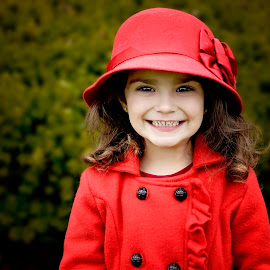 Little Lady in red by Darya Morreale - Babies & Children Child Portraits ( girl, girl in a hat, lady in red, red coat, portrait,  )