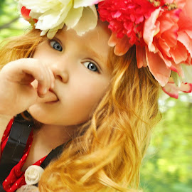 The Flower Child by Cheryl Korotky - Babies & Children Child Portraits ( red hair, a heartbeat in tiime photography, amazing faces, blue eyes, beautiful children, redhead, child model nevaeh, flowers, flower crown, portrait )