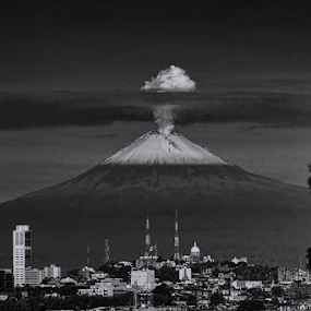 Puebla City and Popo by Cristobal Garciaferro Rubio - Black & White Landscapes ( volcano, popo, puebla, popocatepetl, snowy volcano, city )