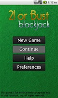 Screenshot of 21 or Bust Blackjack Pro