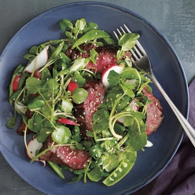 Steak and Watercress Salad With Miso Dressing