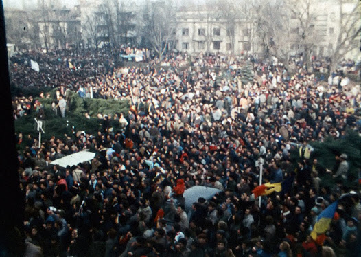 Protesters in the courtyard of the national television broadcaster