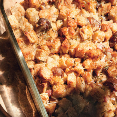 Whole Wheat Stuffing with Pancetta, Chestnuts, and Parmesan