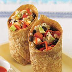 Black Bean, Avocado, Brown Rice and Chicken Wrap