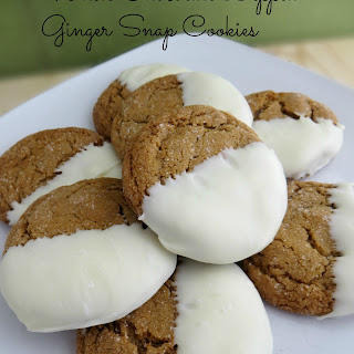 Gingersnap Cookies Dipped in White Chocolate