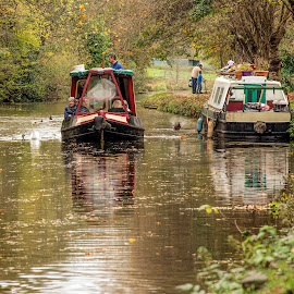 Day on the Canal by Darrell Evans - Transportation Boats ( water, autumnal, autumn, fall, trees, wildlife, boat, people, birds, canal, narrow boat,  )