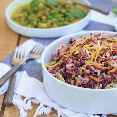 Red and Green Cabbage Salad with Lemon Mustard Seed Dressing