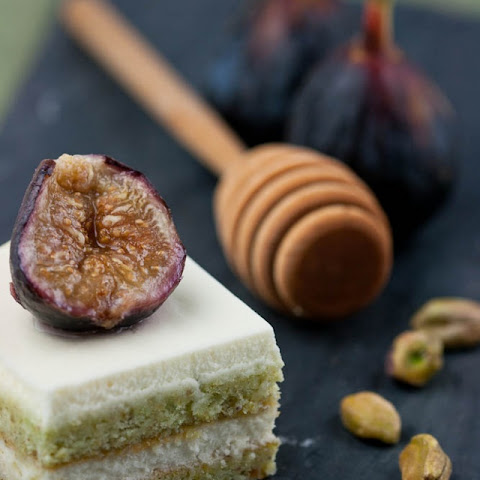 Pistachio Mascarpone Cake with Roasted Figs