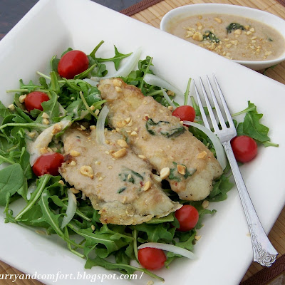 Arugula and Tilapia Salad with Thai Peanut Dressing