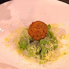Scotch quail's eggs with mashed Romanesco broccoli