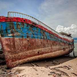 Moldy Ship by Demi Nst - Transportation Other ( clouds, ship, sea, transportation, decayed, batam )