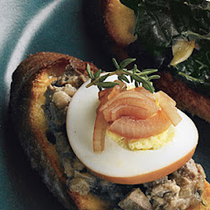 Chicken Liver Crostini with Pickled Eggs