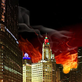 Chicago Fire by Tricia Scott - Digital Art Places ( reflection, skyline, illinois, waterscape, midwest, chicago, fire, city, river,  )